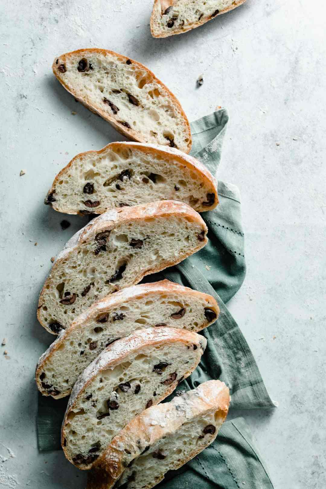 No Knead Olive Bread slices.