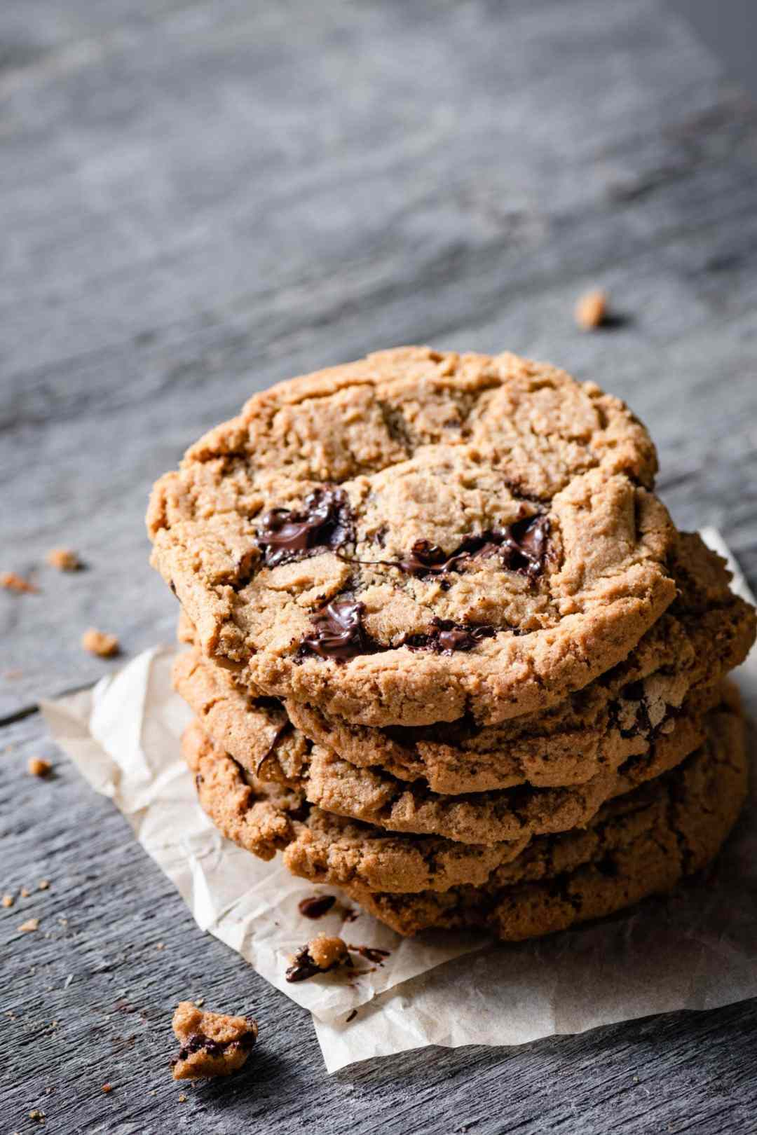 Stack of peanut butter chocolate chip cookies.