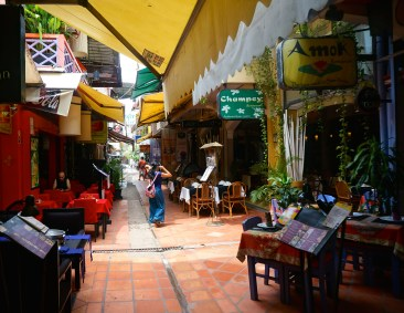 One of the cafe and boutique lined alleys