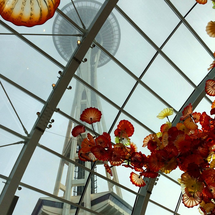 Space Needle from inside the glasshouse at Chihuly Garden and Glass