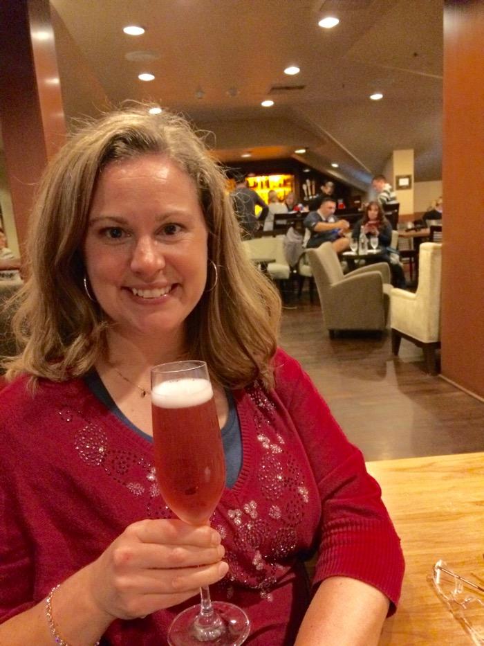 Enjoying a glass of Salish Lodge Brut Rosé