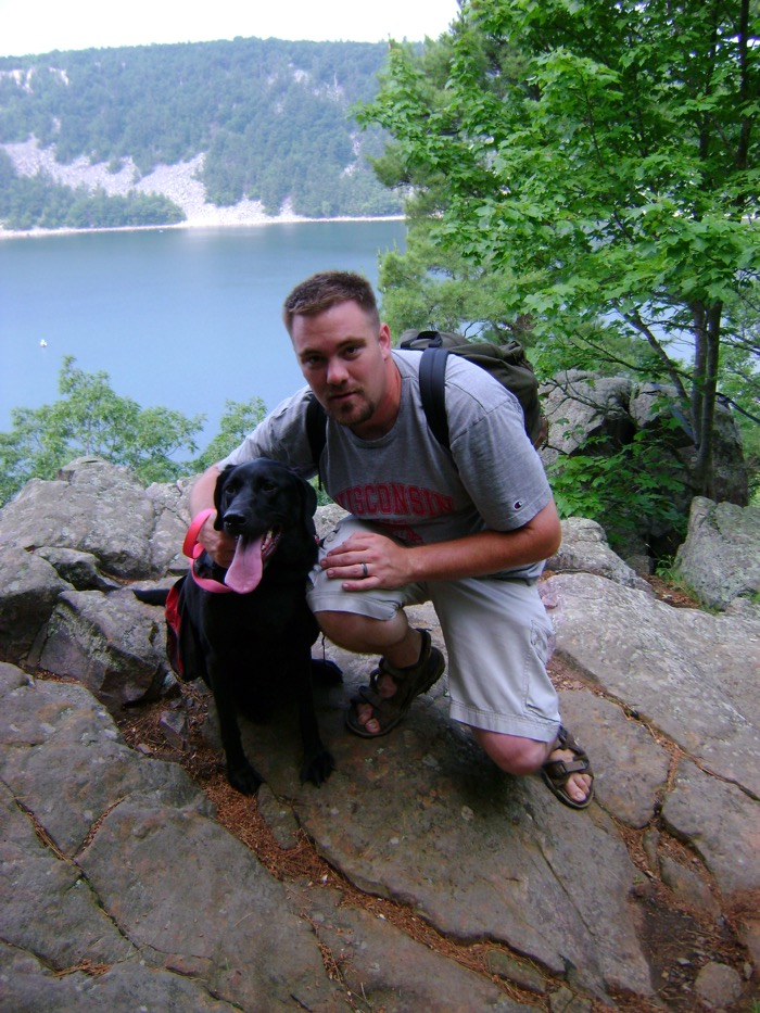 Jason and Bailey on bluff in Devil's Lake State Park