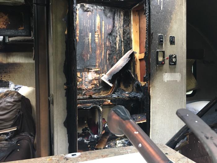 Fire-damaged camper bathroom
