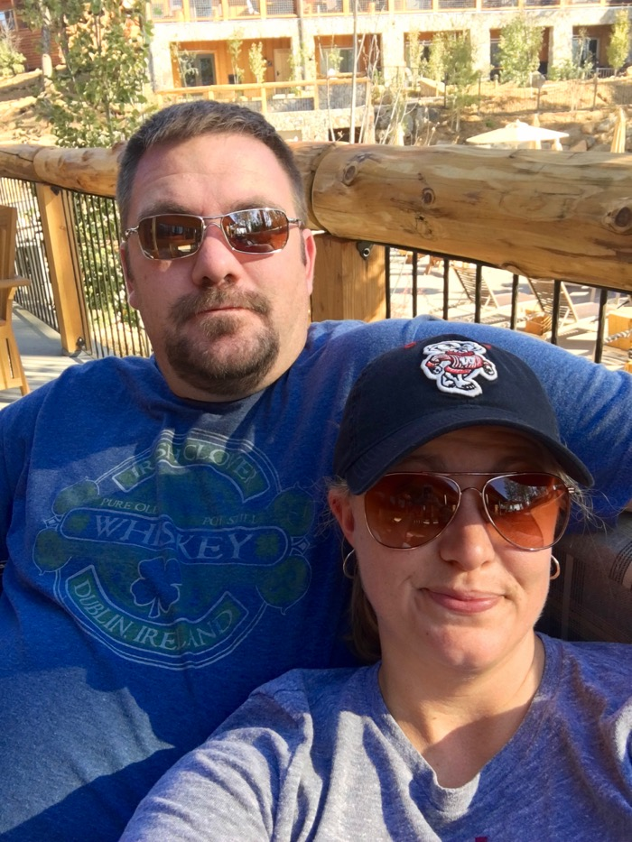 Jason and Laura relaxing at Rush Creek Lodge