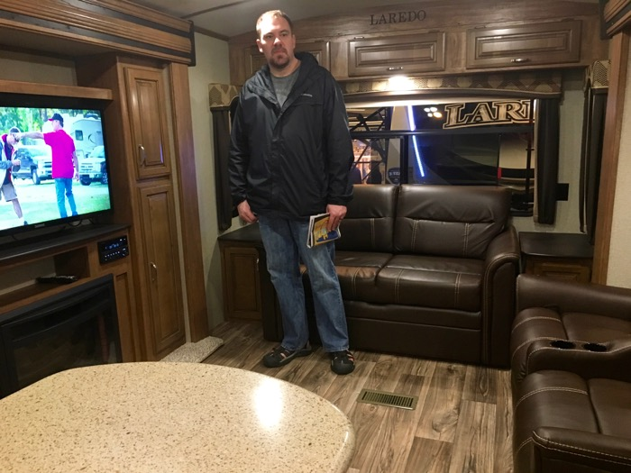 Living space in the Kestone Laredo at the St. Louis RV Vacation & Travel Show