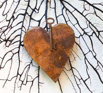 rusted heart with key