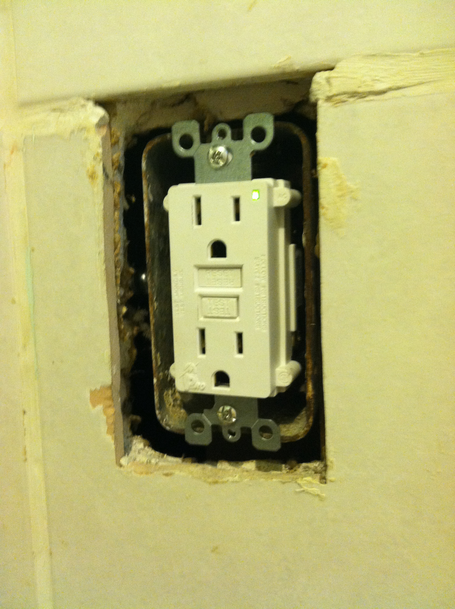 Kitchen Outlet Two Flat Remade Wiring Outlets In Bathroom