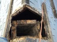 Chimney below roof line
