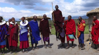 Floating On Air. With Maasai Tribesmen Near Lake Manyara, Tanzania