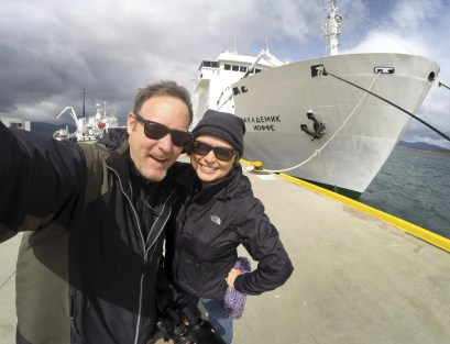 Selfie in front of the Russian research vessel Akademik Ioffe.