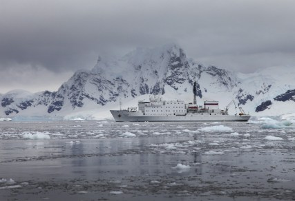 The stately Akadmik Ioffe, looking very much at home in the polar environment.