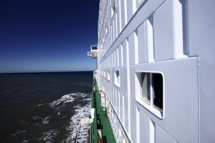 A beautiful sunny day, looking forward along the ship's port side.
