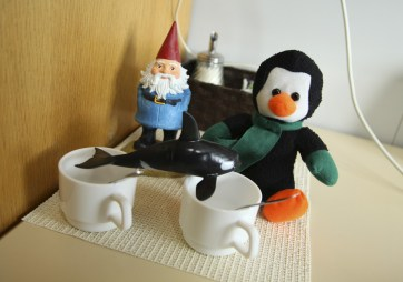 Our good luck trinkets. The penguin Dusty bought Nik. The orca Nik bought Dusty. And the gnome Dusty's folks gave us to take along on our adventures. :)
