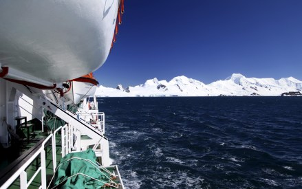 Looking back toward the icy landscape from the ship's port side.