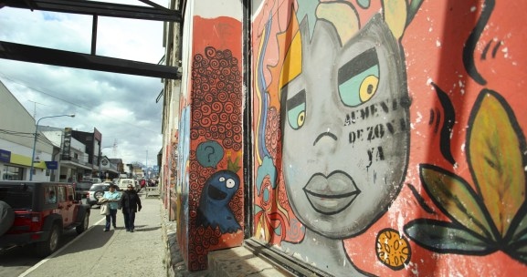 Colorful street art on a beautiful day in Ushuaia.