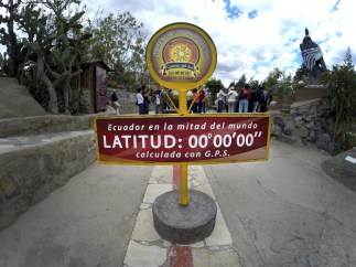 Middle earth! For real! The official marking of the equator at the Intinan Solar Museum.