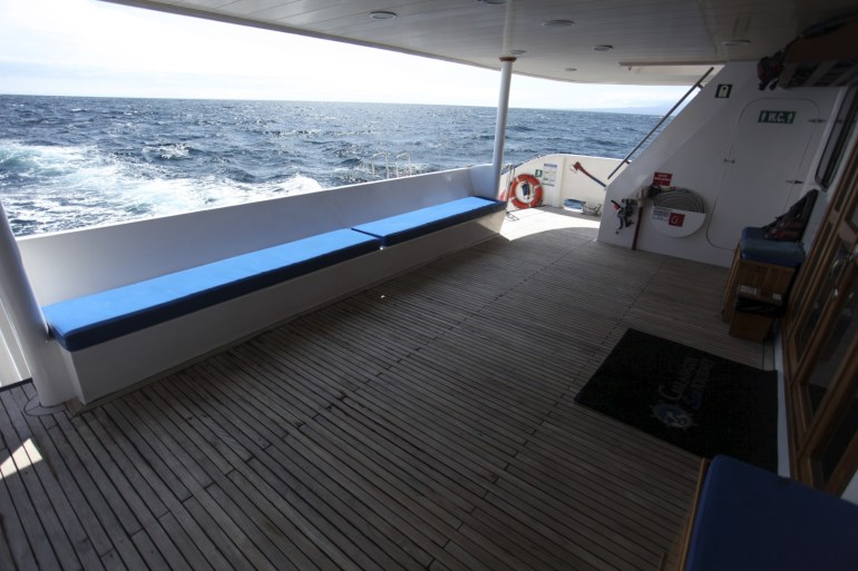 """The """"staging deck"""" at the back of the boat."""