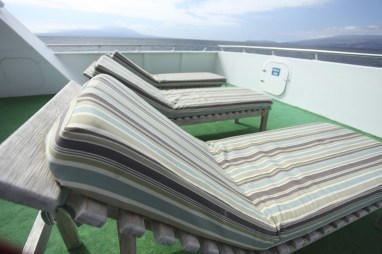 Comfy loungers up top.