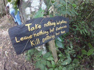 Words to live by. At Selva Bananito (Costa Rica).
