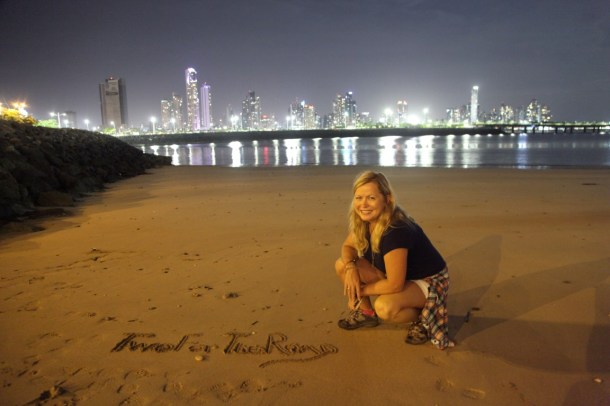 Defacing the beach in Panama City LOL.