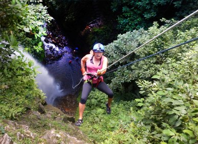 Nik. Being a total badass. Canyoning in La Fortuna, Costa Rica