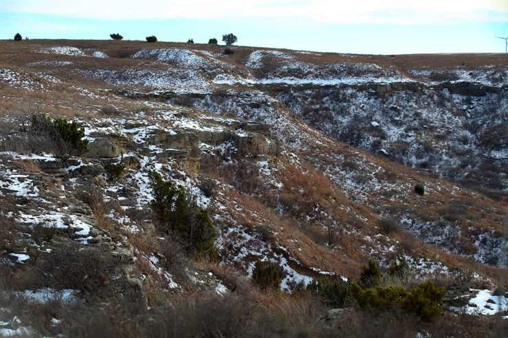 """There's still a little snow on the bluffs, which are called the """"Caprock."""""""