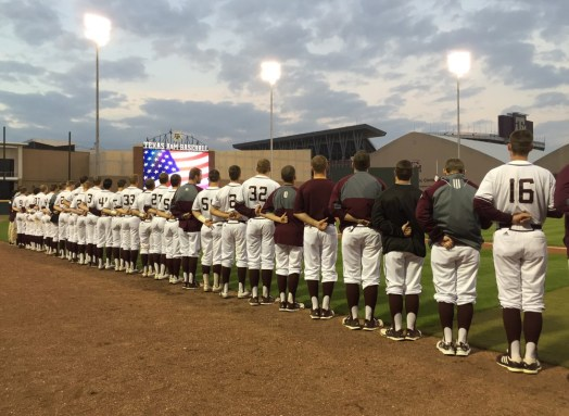 Lining up for the National Anthem.