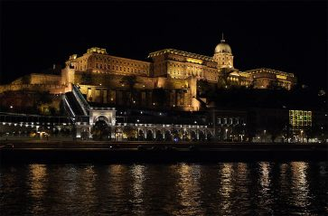 Budapest is absolutely stunning at night! We cruised through town along the Danube our first evening, and were blown away by sights like this. This is Buda Castle. And it's just amazing!