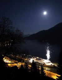 The view from Greinburg Castle, looking down on the AmaCerto under a beautiful full moon. [*sigh*]