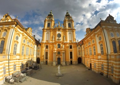 Melk Abbey. The abbey itself was built between 1702 and 1736.