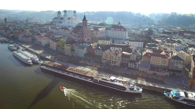 Another drone shot above Passau, with the AmaCerto resting along the Danube. So pretty!