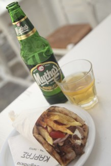 Gyros and cold beer in Paros