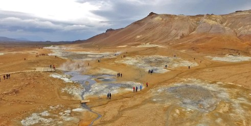 Flew our drone and got some incredible shots of the otherworldly Hverir geothermal area. Looks like a painting!