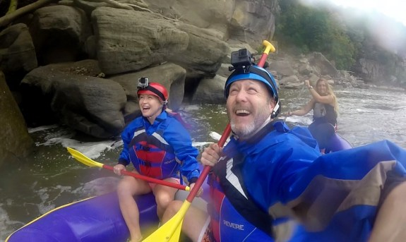 Rafting up to the falls!