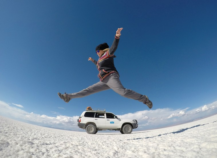 Jumping for joy on the spectacular Salar de Uyuni in southern Bolivia. It's the world's largest salt flat and is absolutely mind-blowing!