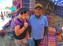 Our new friend Paulino, who sold us a bunch of blankets at the market. He really was a friendly guy! Honest! :)
