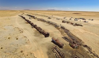 """A famous """"Train Cemetery"""" just off the salar, near the town of Uyuni."""