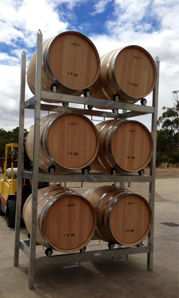 New rolling racks for Shiraz aging.