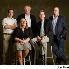 """The Top 5, left to right: Louis Barruol of Château de St.-Cosme, Lilian Barton Sartorius of Château Leoville-Barton, Vincent Avril of Clos des Papes, Doug Shafer of Shafer and Michael Twelftree of Two Hands (image from <a href=""""http://www.winespectator.com/webfeature/show/id/49128http://www.winespectator.com/webfeature/show/id/49128"""">Winespectator.com</a>"""