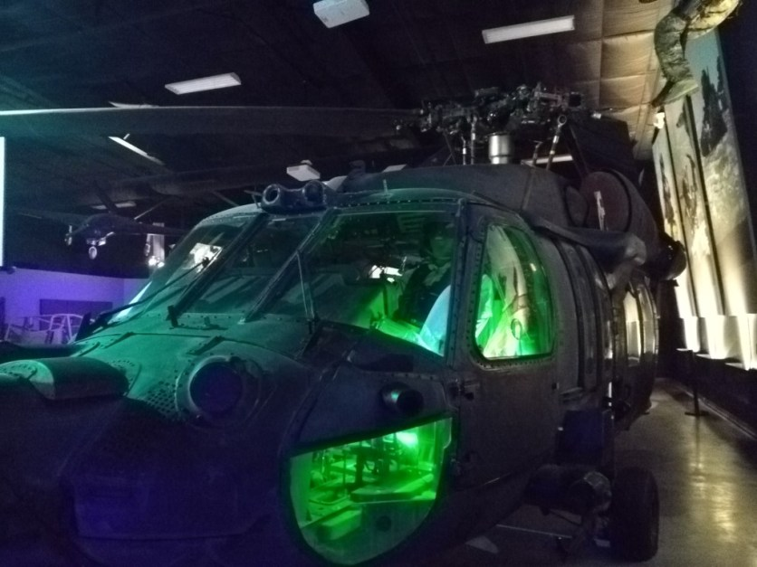 An actual Black Hawk helicopter that had been shot down 3x's while in service!
