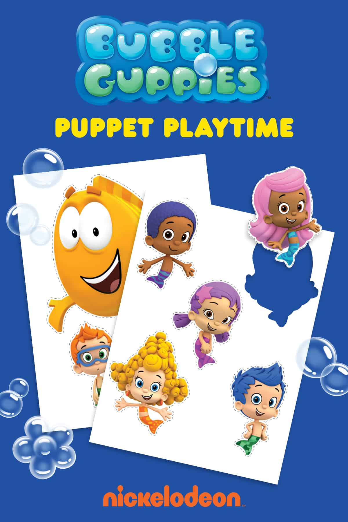 Bubble Guppies Printable Puppets
