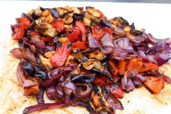 Grilled vegetables chopped
