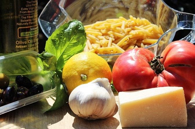 Fresh tomato lemon olive pasta ingredients