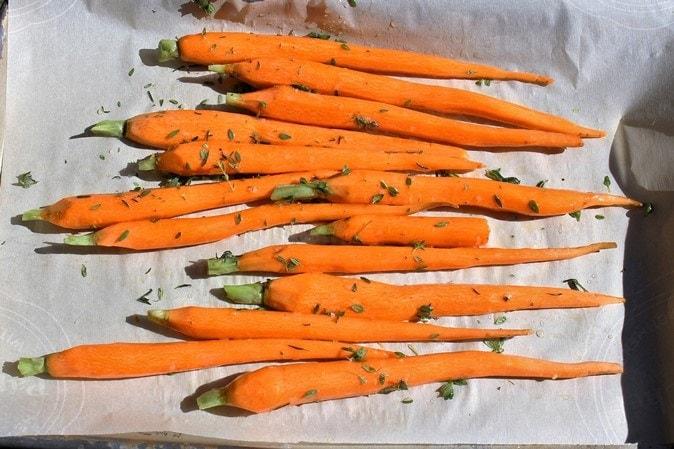 Honey-Thyme Carrots ready to roast