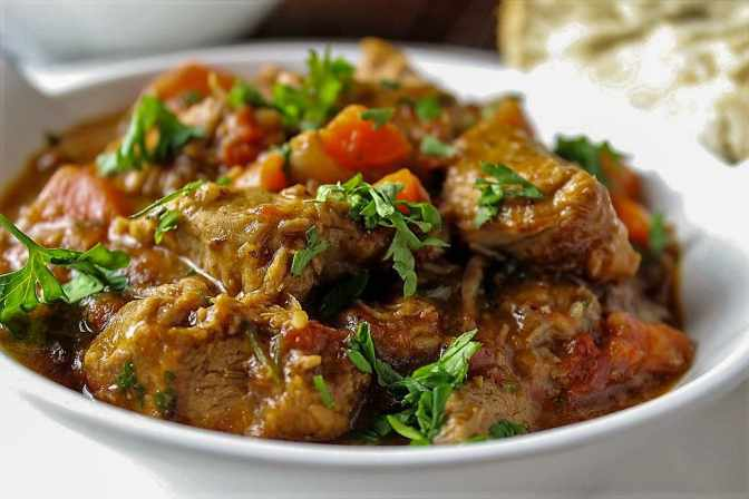 veal stew with wine, zest and thyme
