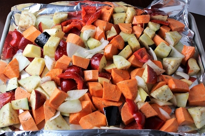 Sweet Potatoes, Peppers, Eggplant and Apples