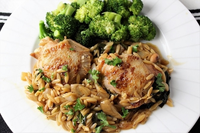 One Skillet Chicken and Spinach Mushroom Orzo