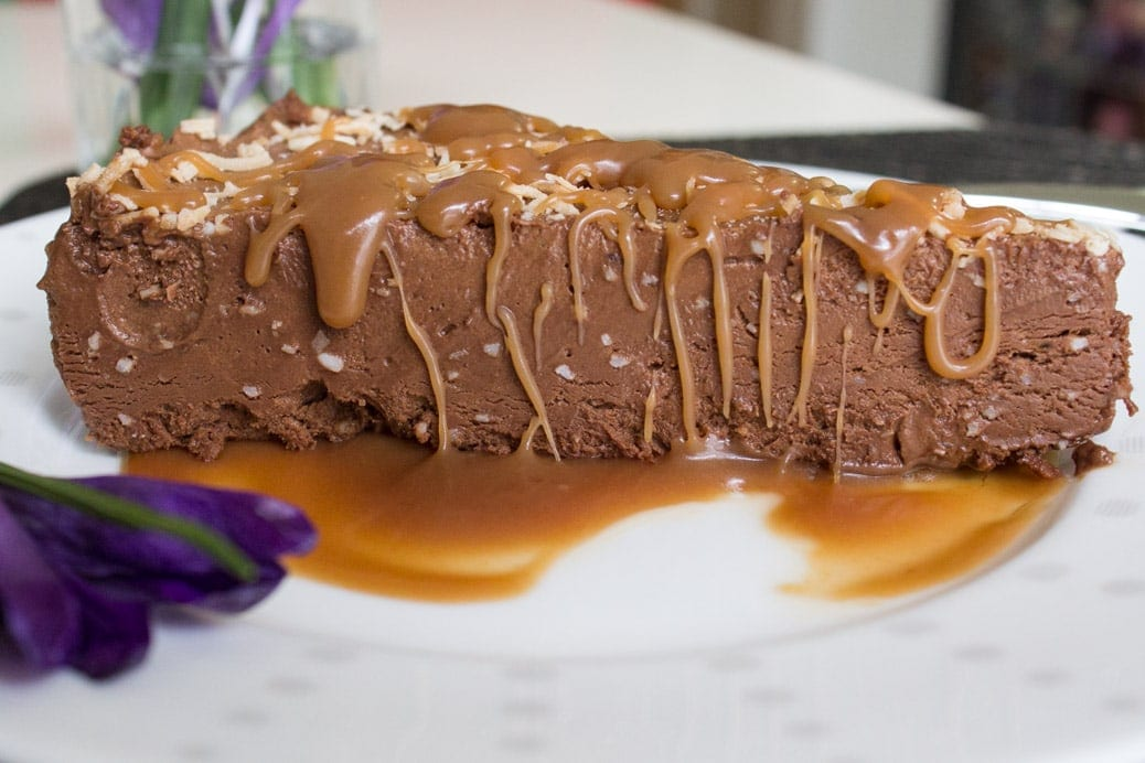 Frozen Chocolate Coconut Mousse with Warm Caramel Sauce
