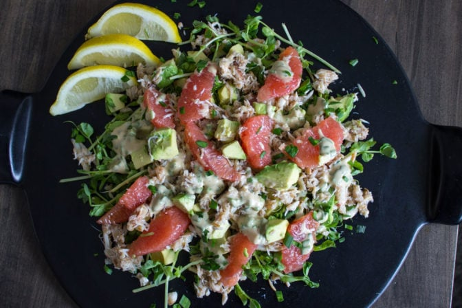 pink grapefruit crab salad