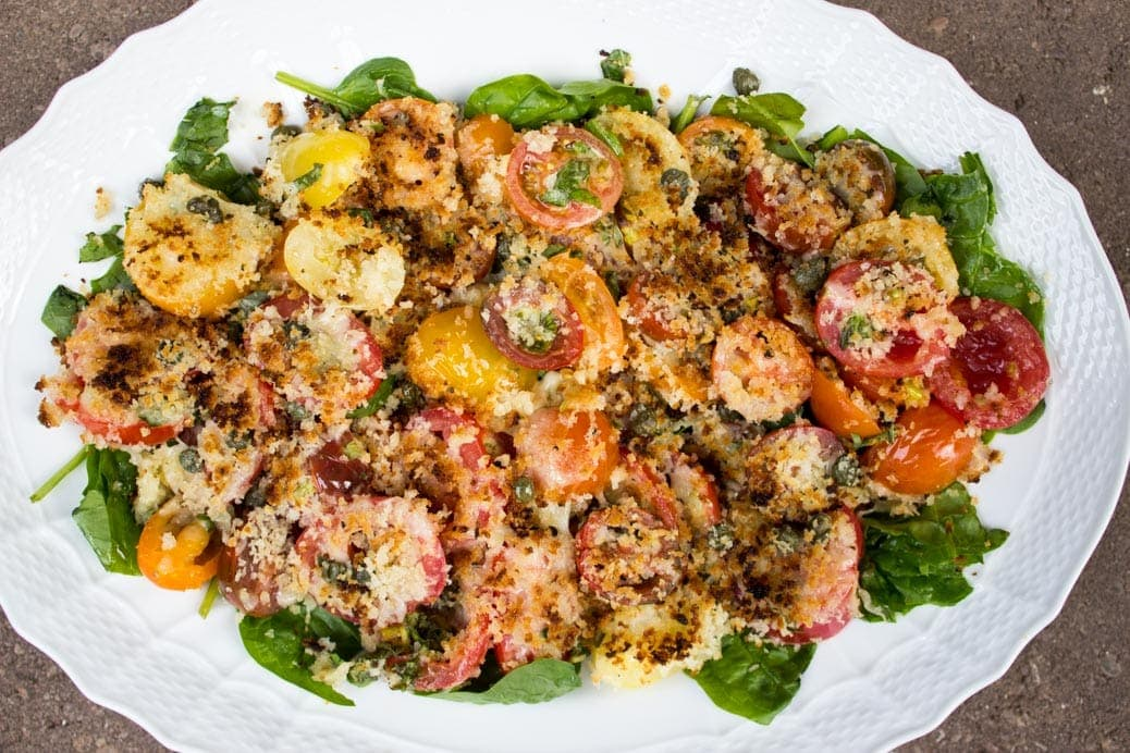 Broiled Cherry Tomatoes with Cheese and Panko Crumbs